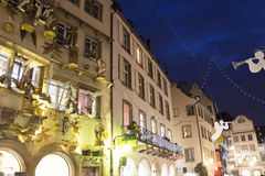 Strasbourg during Christmas time. Christmas decorations on the streets of Strasbourg in France Royalty Free Stock Image