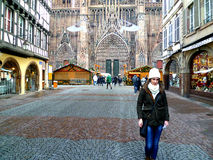 Strasbourg on CHristmas. Young woman in Strasbourg during Christmas time royalty free stock photos