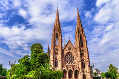 Strasbourg City Medieval Protestant Church Royalty Free Stock Photos