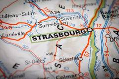 Strasbourg. City on a road map Stock Images