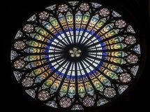Strasbourg - den gotiska domkyrkan, rose fönster Arkivfoton