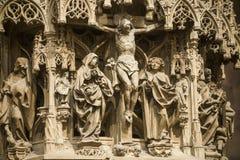 Strasbourg - den gotiska domkyrkan, skulpturer Arkivfoto