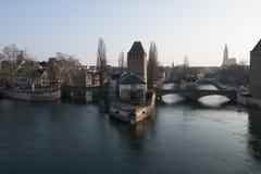 Strasbourg den medeltida bron Ponts Couverts lokaliseras i det historiska området Petite France alsace france Royaltyfria Foton