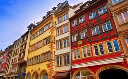 Strasbourg downtown street facades in France Stock Images