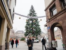 Strasbourg França após ataques terroristas no mercado do Natal imagens de stock royalty free