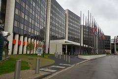 Strasbourg, França - 6-15-2019: Escritórios da construção do Parlamento Europeu, Strasbourg, França foto de stock royalty free