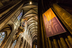 STRASBOURG, FRANCE. STRASBOURG, FRANCE - NOVEMBER 5: Interior views of Cathedral of Our Lady in the old town part of Strasbourg on November 5, 2015 stock photography