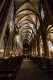 STRASBOURG, FRANCE. STRASBOURG, FRANCE - NOVEMBER 5: Interior views of Cathedral of Our Lady in the old town part of Strasbourg on November 5, 2015 royalty free stock image