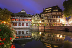 Strasbourg, France. Night scene along the water canals in the district of Petite-France in the old town of Strasbourg, France Royalty Free Stock Images