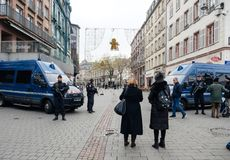 Strasbourg France après des attaques terroristes au marché de Noël image libre de droits