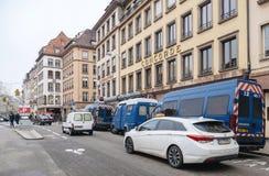 Strasbourg France après des attaques terroristes au marché de Noël photographie stock