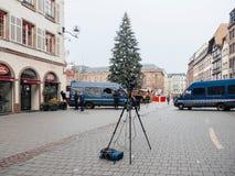 Strasbourg France après des attaques terroristes au marché de Noël photo stock