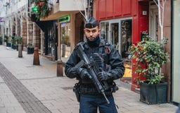 Strasbourg France après des attaques terroristes au marché de Noël images stock