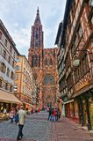 Cathedral of Notre Dame at Rue Merciere street in Strasbourg Royalty Free Stock Photography