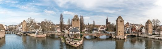 Panoramic view on Little France district in Strasbourg stock images