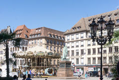 STRASBOURG, FRANCE - August 23 : Street view of Traditional hous Royalty Free Stock Photography