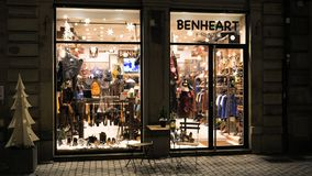 Benheart Firenze Fashion store in central Strasbourg. Strasbourg, France - Circa 2018: Benheart Firenze Fashion store in central Strasbourg with customer inside stock footage