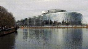 European Parliament building facade vintage film effect vhs