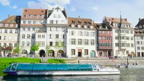 Time lapse fast motion of Strasbourg famous promenade river. Strasbourg, France - Circa 2019: Time lapse fast motion of Strasbourg famous promenade pedestrian stock footage