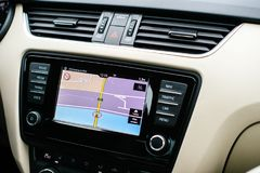 Digital display of the infotainment system with GPS display stock photos