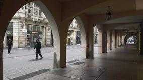 Police surveilling terrorist attack scene after attack Strasbourg. Strasbourg, France - Dec 11, 2018: French Police officers securing premises of Rue des Grandes stock video