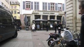 Police surveilling terrorist attack scene after attack Strasbourg. Strasbourg, France - Dec 11, 2018: French Police officers securing Rue des Grandes Arcade in stock video footage