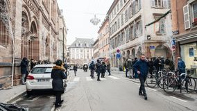 Journalists gathering on the Rue Des Orfevres after terrorist at stock photos