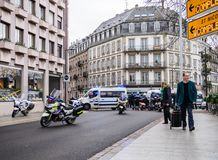 Police officers securing the zone in front of Yellow Jackets Gil. STRASBOURG, FRANCE - DEC 8, 2018: Police officers securing the zone in front of the Yellow stock photos