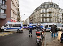 Police officers securing the zone in front of Yellow Jackets Gil. STRASBOURG, FRANCE - DEC 8, 2018: Police officers securing the zone in front of the Yellow royalty free stock photography