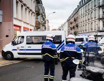 Rear view of CRS French police on street at Yellow Jacket moveme stock photography