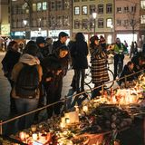 Mourning in Strasbourg people paying tribute to victims of Terro stock photography