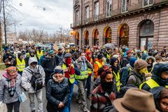Marche Pour Le Climat march protest demonstration on French stre stock image