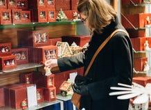 Woman shopping inside Villeroy & Boch ceramic porcelain Royalty Free Stock Photo