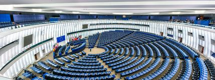 Plenary hall of the European Parliament in Strasbourg, France. Strasbourg, France - December 5, 2017: The Hemicycle, the Plenary hall of the European Parliament Stock Image