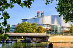 STRASBOURG, FRANCE - European Court of Human Rights in Strasbourg building - Rule of law for European countries, October royalty free stock image