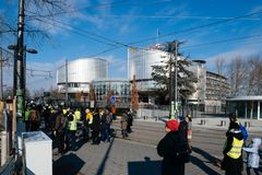 People Gilets Jaunes or Yellow Vest protest in Strasbourg France stock photography