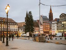 Central square in France Strasbourg Place Kleber. STRASBOURG, FRANCE - JAN 11, 2018: Busy Place General Kleber central square in Strasbourg at dusk with Royalty Free Stock Photography