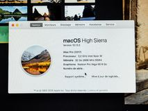 About this Mac information of the new powerful Apple iMac Pro wo Stock Photos