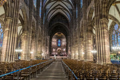 STRASBOURG, FRANCE - JANUARY 12, 2017 - Strasbourg`s cathedral inside Royalty Free Stock Photos