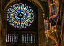 STRASBOURG, FRANCE - JANUARY 12, 2017 - Strasbourg`s cathedral organ with beautiful stained-glass Stock Photo