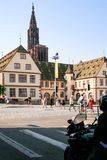 Square Place du Corbeau in Strasbourg city Royalty Free Stock Photos