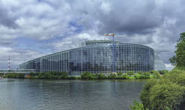STRASBOURG, FRANCE - JUNE 19, 2016: back of European Parliament, Louise Weiss building, 1999 in Wacken district and Ill Royalty Free Stock Photo