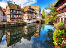 Strasbourg, France. Le Petit France, historical half timbered houses in Strasbourg, France Royalty Free Stock Photo