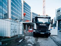 Scania truck mixer trailer at construction site stock images