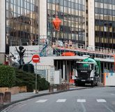 Scania cement mixer truck on the site. STRASBOURG, FRANCE - MAR 5, 2018: Modern Scania G410 cement truck at the reconstruction site of the European Parliament royalty free stock photo
