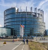 The European Parliament, Strasbourg. STRASBOURG, FRANCE - MARCH 5, 2018: The Louise Weiss building, seat of the European Parliament located in Strasboug, France Stock Photos