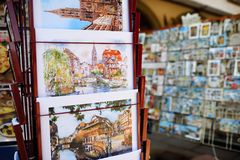 STRASBOURG, FRANCE - March 24, 2018: pictures of the city exhibited for sale Royalty Free Stock Photo