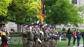 Ceremony to mark Western allies World War Two victory Armistice. STRASBOURG, FRANCE - MAY 8, 2017: Ceremony to mark Western allies World War Two victory royalty free stock images