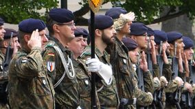 Ceremony to mark Western allies World War Two victory Armistice. STRASBOURG, FRANCE - MAY 8, 2017: Ceremony to mark Western allies World War Two victory stock photos