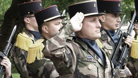 Ceremony to mark Western allies World War Two victory Armistice. STRASBOURG, FRANCE - MAY 8, 2017: Military salute at ceremony to mark Western allies World War royalty free stock images